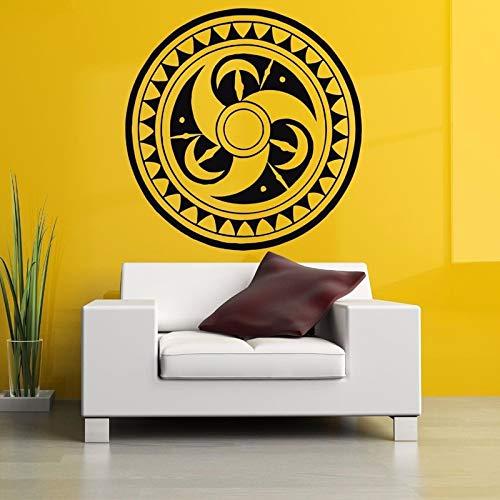 Jiuyaomai tribal circle tattoo poster adesivi murali rimovibili per soggiorno sfondo vinile adesivi camera da letto poster per la casa nero 42x42cm