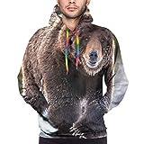 Photo de Huabuqi Grizzly Bear Youth - Sweat-Shirt Hooide imprimé en 3D avec Poche par Huabuqi