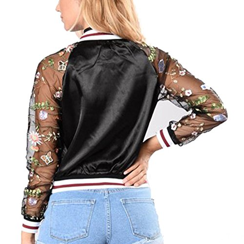 Floral Jackets - Women Floral Embroidered Stand Collar See-through Long Sleeve Zip-up Casual Tops Black S-2XL Noir