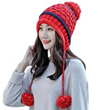 OSYARD Damen Beanie Mütze Wintermütze, Mode Frauen Spleißen Gestrickte Mütze mit Hairball Long Beanie Tail Hat Cap,Kuschelig WollmützeOutdoor Sport StrickmützeSkimütze mit Pompon Bommelmütze