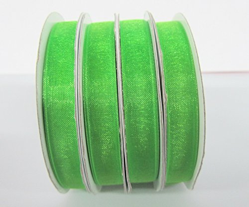 25 yards Spool Sheer Organza 3/8 Ribbon 9mm/Craft/wedding OR38-Apple Green US Seller Ship Fast by www.embellishmentworld.com -