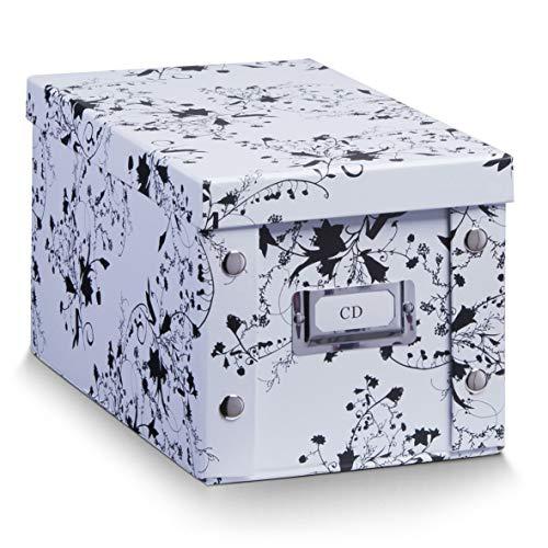 Zeller 2057181 Boîte de CD 16,5x28x15cm en Blanc Floral, Autre, 5 x 28 x 15 cm