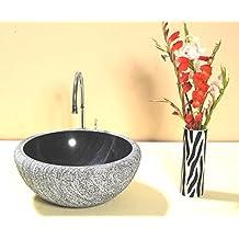 CAPSTONA Hector Black Marble Designer Round Bathroom Stone Washbasin, 400 * 400 mm