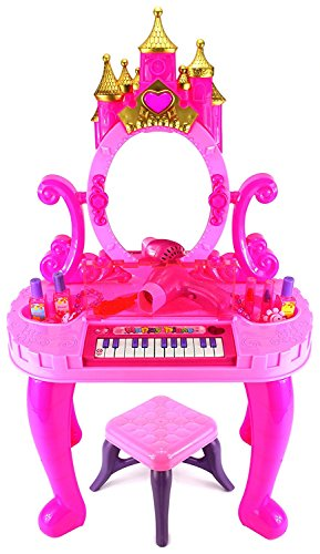 Tabu Toys World Dressing Table Cum Piano with Stool - Music and Lights, Best Toy for Girls