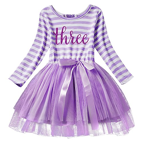 Mädchen Kostüm Prinzessin Violett - Neugeborene Säuglings Kleinkind Baby Mädchen Ist es Mein 1. / 2. / 3. Geburtstags Gestreiften Tüll Tütü Prinzessin Kleid mit Bowknot Partykleid Fotoshooting Outfits Kostüm Violett
