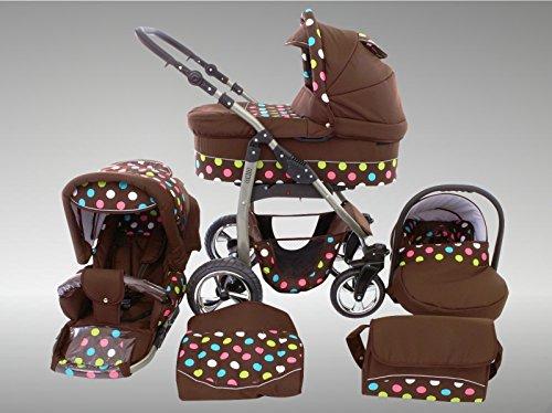 Chilly Kids Dino Kinderwagen Sommer-Set (Sonnenschirm, Autositz & Adapter, Regenschutz, Moskitonetz, Getränkehalter, Schwenkräder) 54 Braun & Bunte Punkte