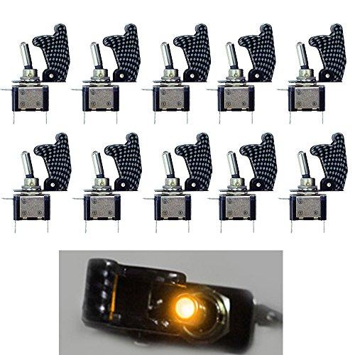 Blanc Lumi/ère LED 20A 12V pour Voiture Camion Bateau Moto Rouge Jaune Mintice/™ 5 X Interrupteur Commutateur /à Bascule Levier SPST ON//OFF Couvercle Fibre Carbon Bleu Vert
