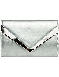 CASPAR TA353 Damen elegante Envelope Clutch Tasche / Abendtasche mit stylischem Metalldekor
