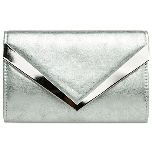 CASPAR TA353 Damen elegante Envelope Clutch Tasche / Abendtasche mit stylischem Metalldekor, Farbe:silber;Größe:One Size