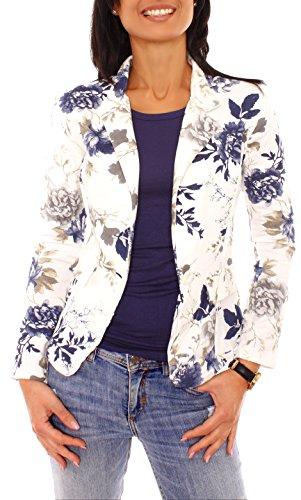 Damen Sommer Sweat Jersey Blazer Jacke Sweatblazer Jerseyblazer Sakko Kurz Ungefüttert Langarm Geblümt Blumen-Muster Blau-Taupe L - 40 (XL) (Taupe Blazer Jacke)