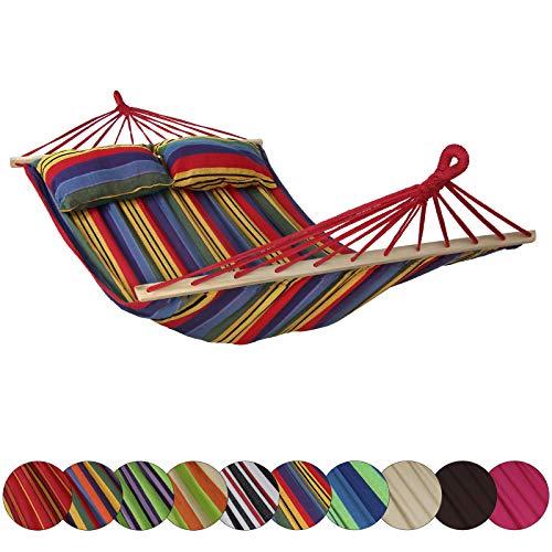 Amaca con Supporto CIBAO con 2 Cuscini Inclusi Dimensioni Telo 240x140 cm Disponibile in Molti Colori carico Massimo 300 kg per 2 Persone, Colore:Messico