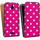 HTC Desire 510 Tasche Hülle Flip Case Polka Pünktchen Pink Muster