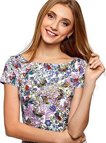 oodji Ultra Donna T-Shirt Aderente con Scollo a Barchetta Multicolore (1241U)