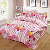 Huichao Baumwoll-24-teilige Baumwollbettverpackung 1,8m Bettdecke Deckel Blätter dreiteilig,Pink