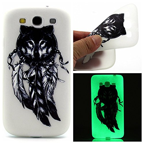 Coffeetreehouse Slim Etui Noctilucent Coque TPU pour Samsung Galaxy S3 i9300 Coque,Etui Silicone Transparente Gel TPU Bumper Anti Poussiere Resistance Anti-rayures Case Cover Couverture Pour Samsung G plumes Langtou
