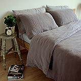 Linen & Cotton Set de Housse de Couette Extra Douce ALICIA, 100% Lin Lavé - Taupe (200 x 200cm - Double)