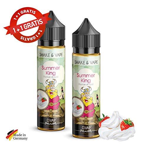 2 x Summer King Erdbeere Strawberry Shake and Vape E Liquid, 0mg, ohne Nikotin, Vape E Zigaretten, 50ml