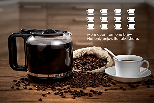 Coffee Machine, Aicok Filter Coffee Maker, 12 Cup Programmable Coffee Makers, 1.8 liters Clock/Timer Coffee Machine, Anti-Drip System, Permanent Reusable Filter, Stainless Steel, Black and Silver