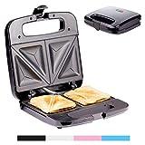 Sandwich Maker Breakfast Sandwich Toaster für 2 American Toasts | Antihaftbeschichtung Heizplatten | 750 Watt | Thermostat (Schwarz)
