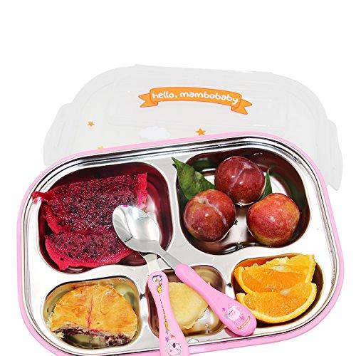Vine Boîtes Bento Ensemble les Enfants avec Cuillère Fourchette et Sac à déjeuner 5 Compartiments, Rose