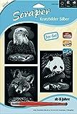 MAMMUT 140005 - Kratzbilder, Motive Wildtiere, silber, glänzend, Komplettset mit 3 Kratzbildern&Kratzmesser&Übungsblatt, Scraper, Scratch, Kritzel, Kratzset für Kinder ab 8 Jahre
