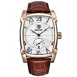benyar Herren Armbanduhr Classic Rechteck römische Zahl Zifferblatt Vintage elegante Leder Business Casual Elegant Armbanduhr Leder Braun