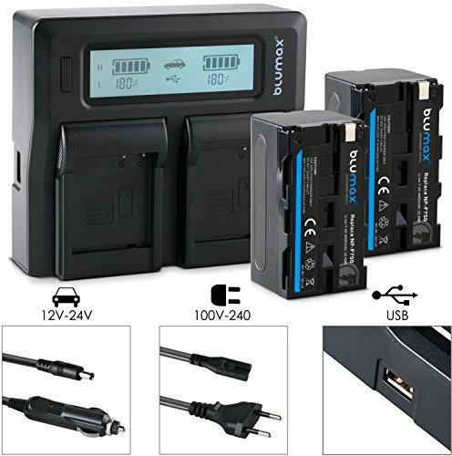 Blumax 2X Akku für Sony NP-F750 / F550 / F970 / F960-4400mAh + Doppelladegerät Dual Charger || KFZ 2 Akkus gleichzeitig Laden