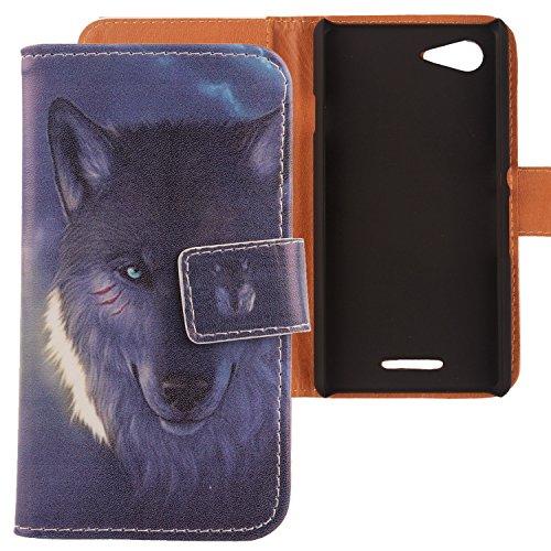 Lankashi PU Flip Leder Tasche Hülle Case Cover Schutz Handy Etui Skin Für Sony Xperia E3 Wolf Design
