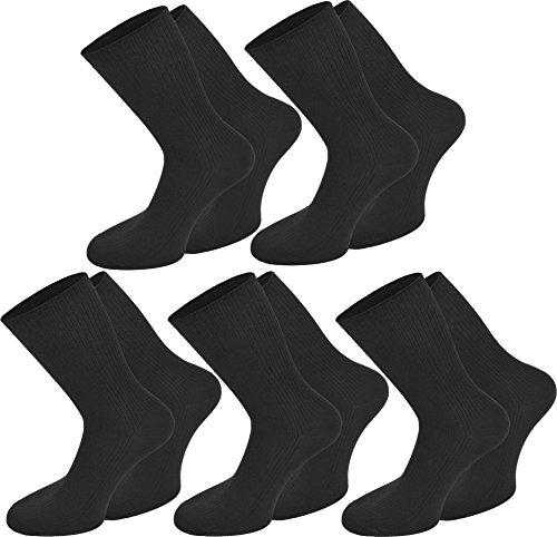 normani 10 Paar Herren Business Socken 100% Baumwolle Arztsocken Apothekersocken Weiss Kochfest - Top Qualität Farbe Schwarz Größe 39/42