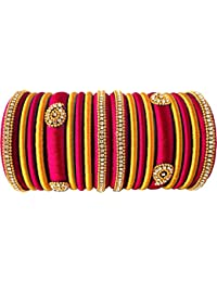553144a59 Party Wear Silk Thread Pink - Gold Color Combination Silk Thread Bangles Set