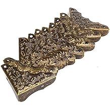 BQLZR - Paquete de 20 protectores de esquina, decorativos, estilo Vintage, antiguo, cobertura para bordes de color bronce, protectores de guardas de escritorio