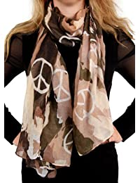 Calonice Amorino Damen Schal Braun Blau Weiß Tarnung Camouflage Symbol des Friedens Frieden Peace War and Peace Print 100% Polyester 100x180 cm (LxH) 23000