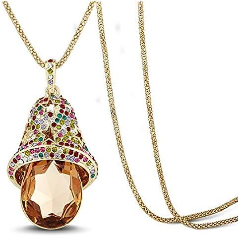 La Noche Estrellada Sweeter las campanas Tema Colorful Diamond Accented Star Cat Collar de gota de cristal marrón