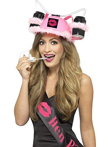 Smiffys Damen Junggesellinnenabschied Trink Hut mit Maraboufedern und Strohhalm, One Size, Pink, 44951