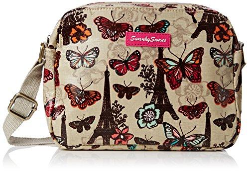 SwankySwans Damen Noel Paris Butterfly Floral 3 Pocket Umhängetaschen Beige