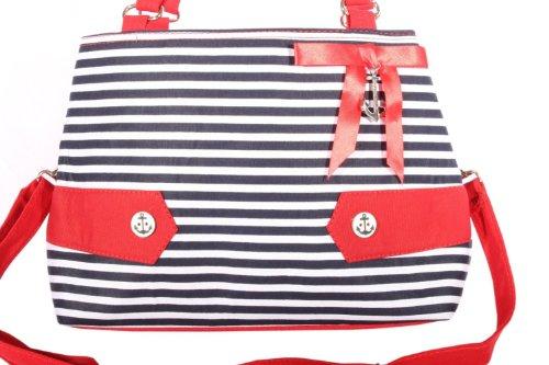 SugarShock Damen Fifites Streifen Uniform rockabilly RETRO Anker Handtasche Tasche -