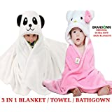 BRANDONN Baby Boy's And Girl's Flannel Hooded Blanket (Pink And White, 0-6 Months) - Pack of 2