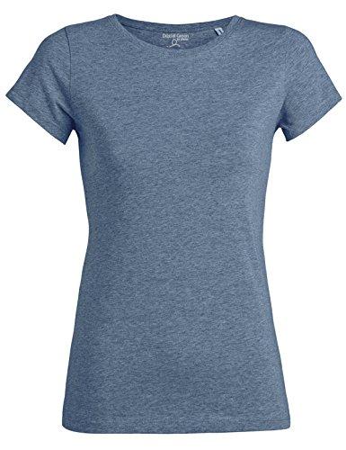 YTWOO Amy Damen Basic T-Shirt Aus 100% Bio-Baumwolle mit Rundhalsausschnitt und taillierte Passform, Bio Kurzarmshirt, Organic Cotton (M, Mid Heather Blue) (Damen-bio-baumwoll-jersey)