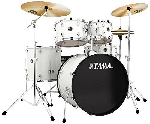 Tama RM52KH6-WH Rhythm Mate Schlagzeug Set (5-teilig) mit 55,8 cm (22 Zoll) Bassdrum inkl. dreiteiligem Beckenset/6-teiliger Hardware weiß