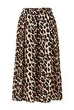 Steps Damen Rock Print Leopard Lange A-Linien Rock
