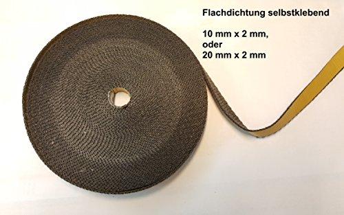 Bestseller Premium Glasband schwarz 10x2 flach á 2m bis Kaminöfen Rohre Smoker bis 550°Celsius asbestfrei selbstklebend Fachhandelsqualität