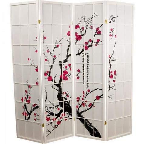 Fine Asianliving Japanese Room Divider Sakura Shoji Ricepaper 4 Panel - White -