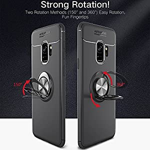 Amozo 360 Degree Protection Sleek Rubberized Beautiful Ring Stand BackCover for Samsung S9(Black)