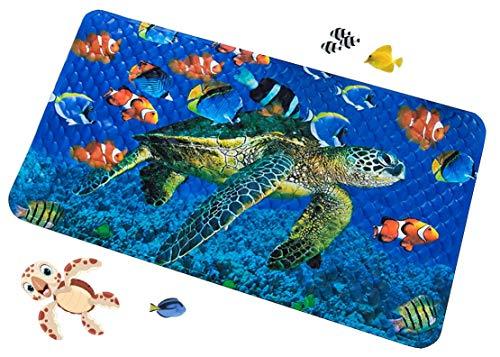 Dunn's 70 cm x 40 cm Sicherheits-Badewannenmatte Anti-Rutschmatte für Badewanne oder Dusche geeignet für Kinder und Erwachsene, Schildkröte und Fischhintergrund
