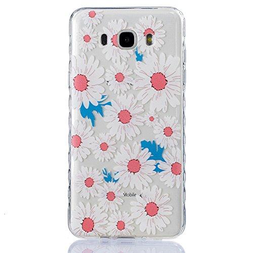 Samsung J710 Hülle, E-Lush TPU Soft Silikon Tasche Transparent Schale Clear Klar Hanytasche für Samsung Galaxy J710(2016) (5,5 zoll) Durchsichtig Rückschale Ultra Slim Thin Dünne Schutzhülle Weiche Fl Weiß Chrysantheme