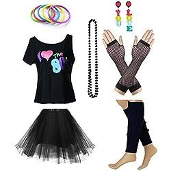 Fun Daisy Clothing Damen I Love The 80er Jahre T-Shirt 80er Jahre Outfit Zubehör, Schwarz - UK 12-14 / S-M