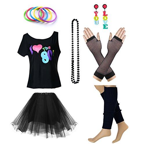 Fun Daisy Clothing Damen I Love The 80er Jahre T-Shirt 80er Jahre Outfit Zubehör, Schwarz - UK 12-14 / ()