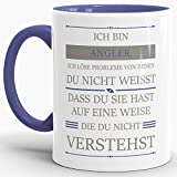 Tassendruck Berufe-Tasse Ich Bin Angler, Ich löse Probleme, die Du Nicht verstehst Innen & Henkel Cambridge Blau/Für Ihn/Job / mit Spruch/Kollegen / Arbeit/Geschenk