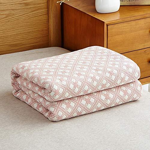 100% Baumwolle gesteppte Steppdecke, für Sommer super weiche Klimaanlage Zimmer Handtuch Decken Twin Queen Size waschbar Sommer kühl (Farbe : Rosa, größe : 200 * 220)