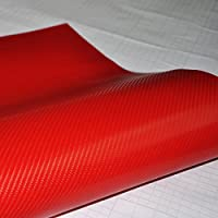 "4D Brillante Rojo Forro De Vinilo De Fibra De Carbono Brillo Hoja ""Air Free"" - Rojo, 50cm x 1.52m"